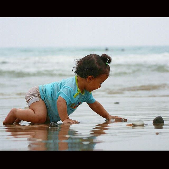 My cutest baby Aya  baby  cute  beach  lebanon  southlebanon  colorful ...