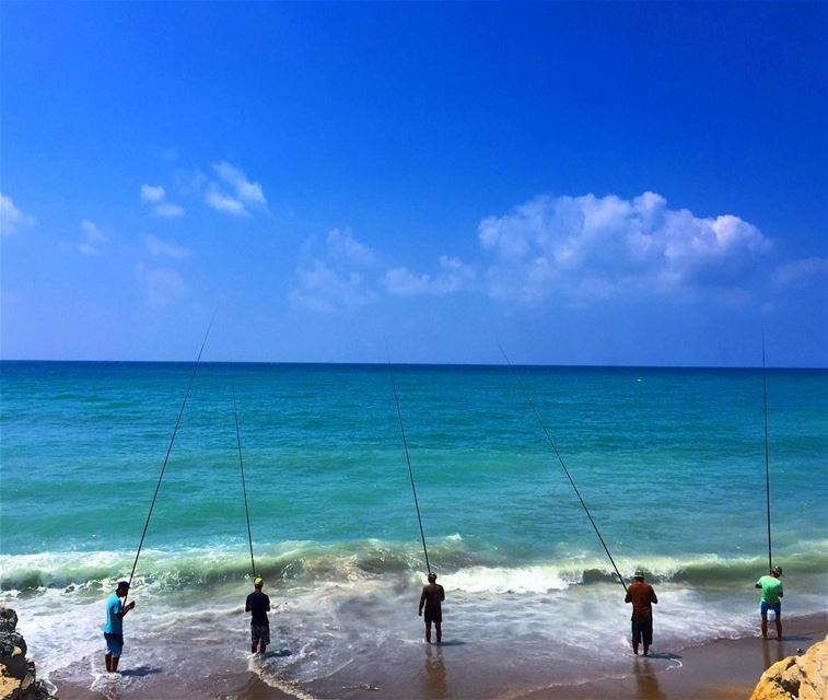 The Fishing Olympics competition has started over here 🎣. Which fisherman... (البحر الابيض المتوسط - لبنان)