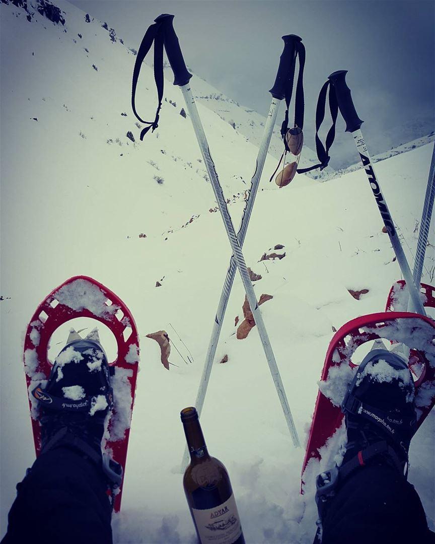 Happy valentine 🍷 lebanon naturelovers gowild snowshoeing freezing ...