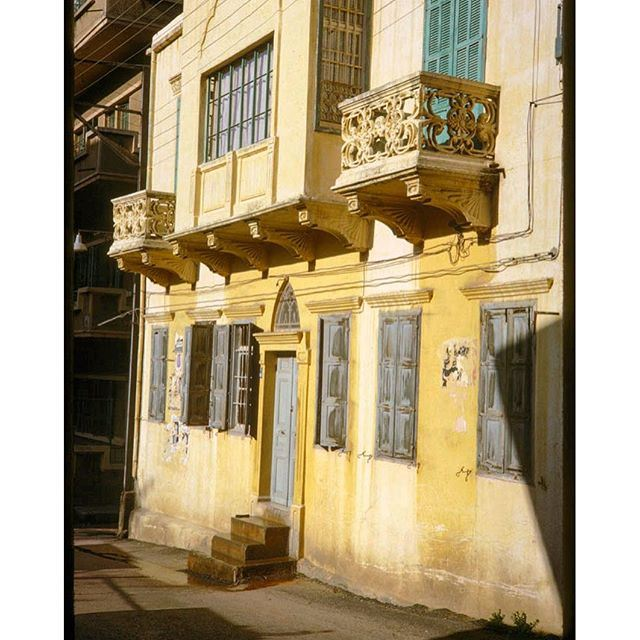 Yellow Building With Two Balconies RasBeirut - 1965 .