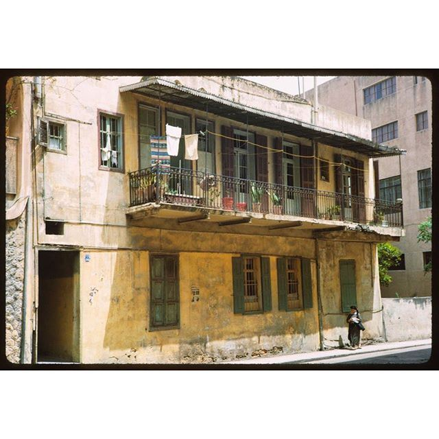 Old House With Balcony Ras Beirut 1965 .