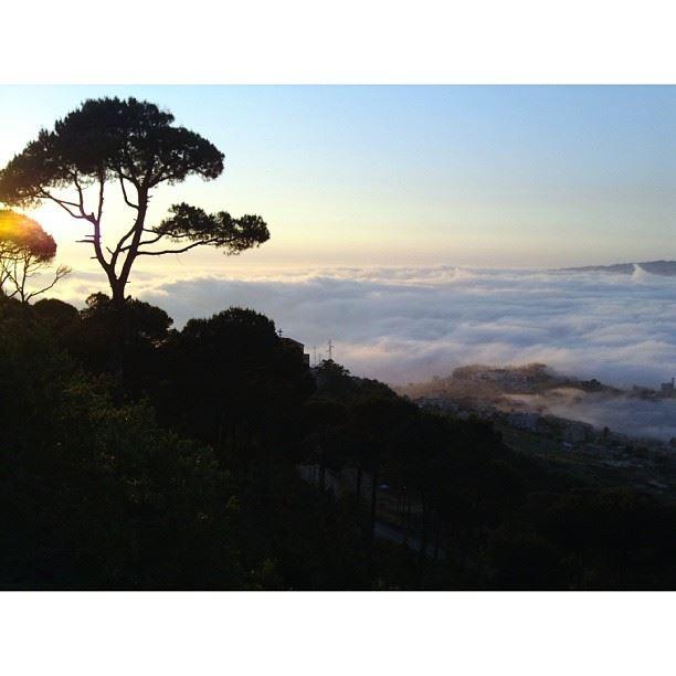 Sunse + Fog invading Chouaya - Taken From Dhour Choueir insta_lebanon ...
