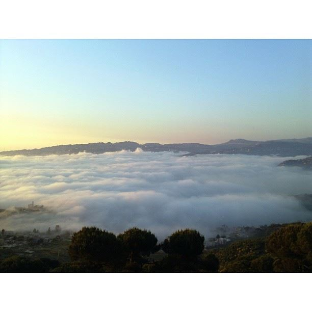 Chouaya sunset and fog as seen from Dhour Choueir insta_lebanon ...