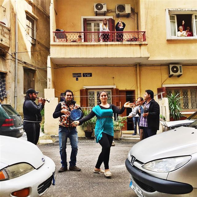 Unusual urban scene: street artists from Tripoli performing a show in the... (Achrafieh Sioufi)