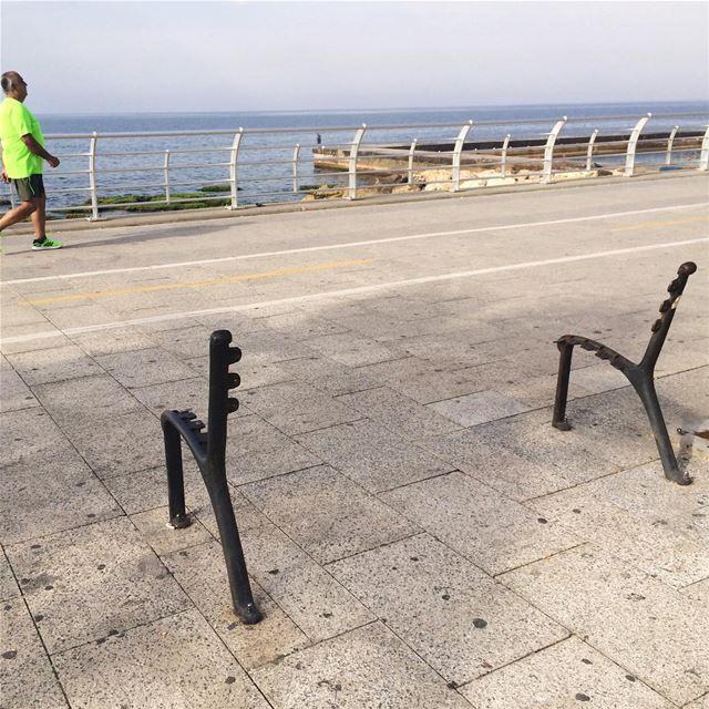 Ghost bench, Corniche, Beirut city 👻 beirut lebanon corniche ... (Beirut Corniche)