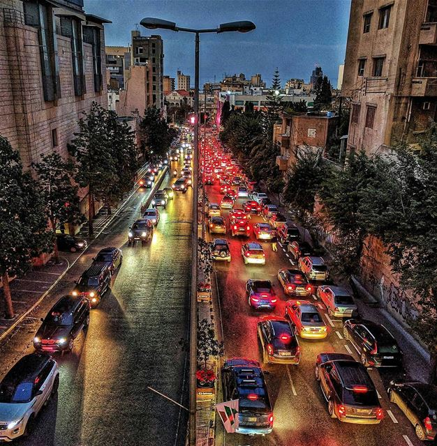 Christmas traffic. It's only beautiful when you're an observer from far,... (Achrafieh, Lebanon)