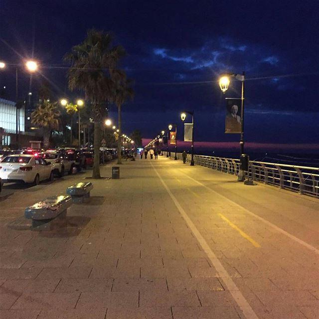 Night Walk ❤️By @followmaryouma GoodNightBeirut AinElMrayseh Beirut ... (Beirut Corniche)