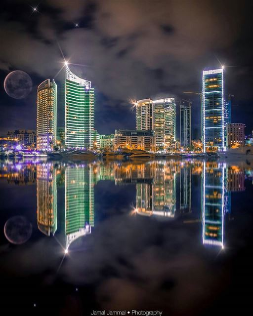 ✦ Beirut cityscape as seen from Zaitunay Bay, Lebanon!By @jamjammal ... (Zeitouna Bay, Beirut , Lebanon)