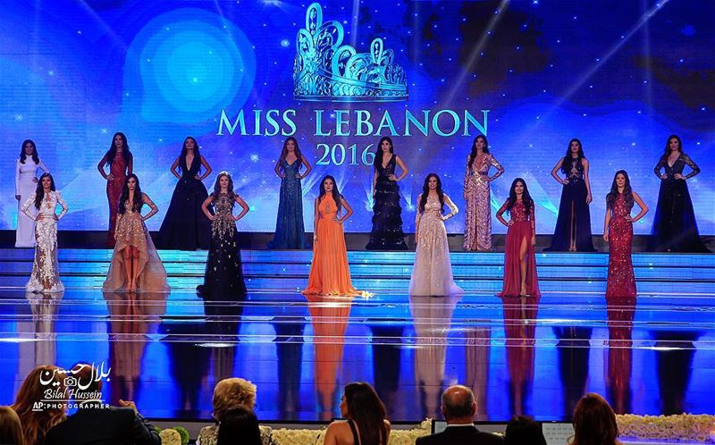 Contestants of the Miss Lebanon 2016 beauty pageant pose in their dress...