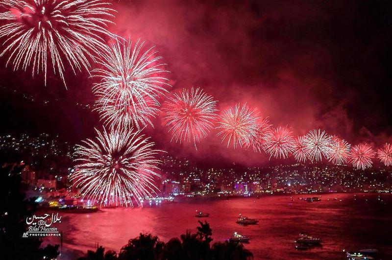 Fireworks explode over the coastal town of Jounieh, Lebanon, Thursday,...