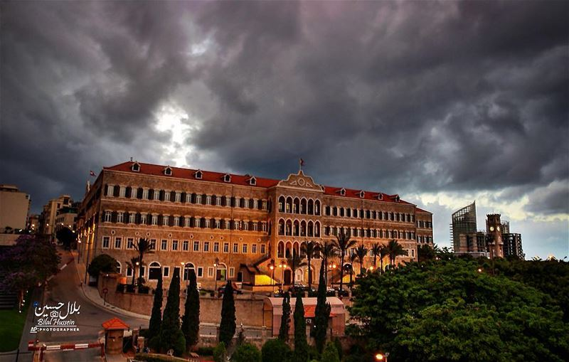 Heavy clouds cover the sky over the Lebanese Prime Ministry, Beirut,...
