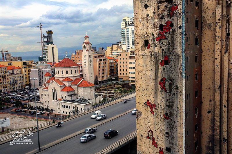 A building that is still riddled with bullets and shells since the 1975-90...
