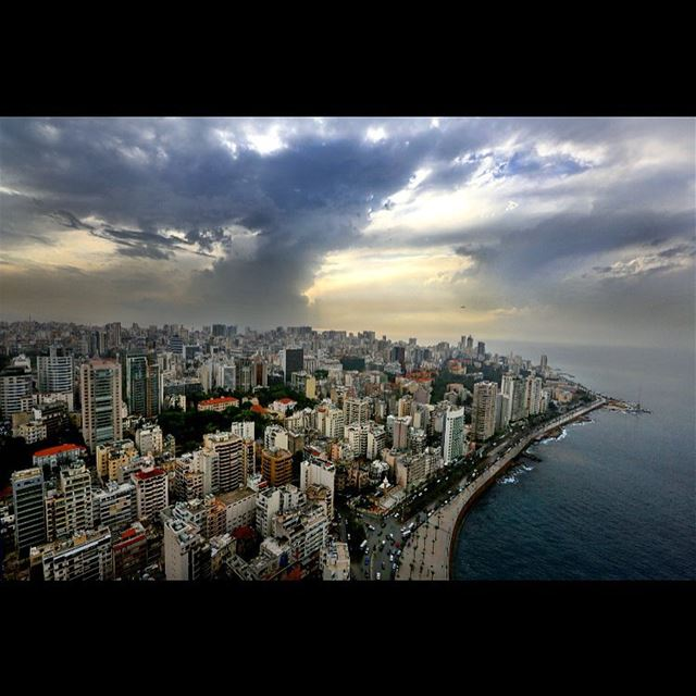 The city of Beirut under thick clouds in Lebanon, Monday, Nov. 16, 2015. ...