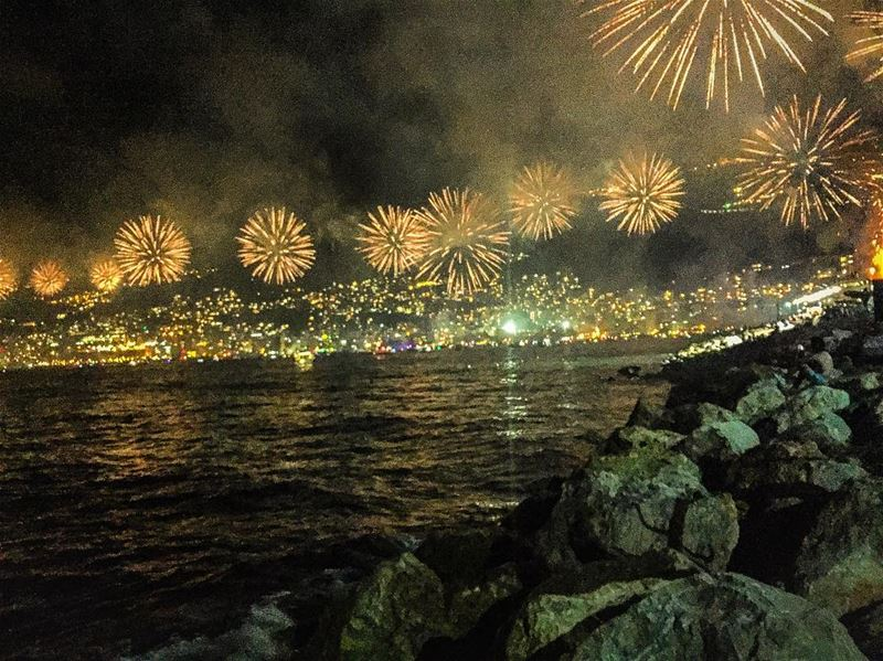 Firework over the jouniehbay sea seascape night outdoors ...