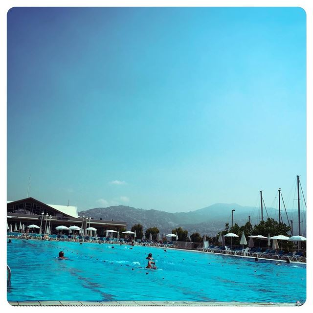 Blue. Fancy a dive? holidays pool club mountains bluesky sky swim ...