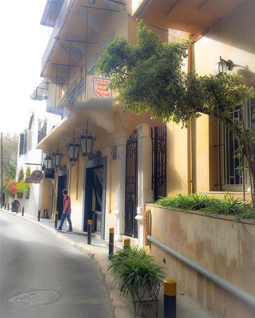 The narrow and lovely streets of the old Beirut city cityscape street ... (Gemmayzeh, Beirut, Lebanon)