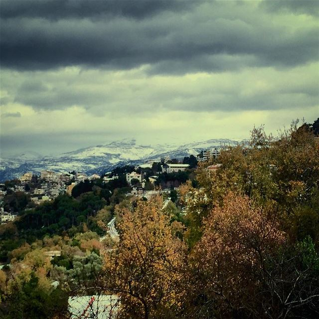 Lebanon today. mountain montagne monts clouds nuages winter hiver ...