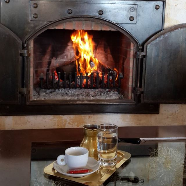 Cosy mornings like this! morning goodmorning coffee chimney cafe ahwe...