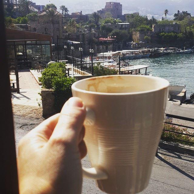 Historical breakfast 😎😎😎 goodmorning morning morningcoffee coffee... (Tournesol Byblos Sur Mer)
