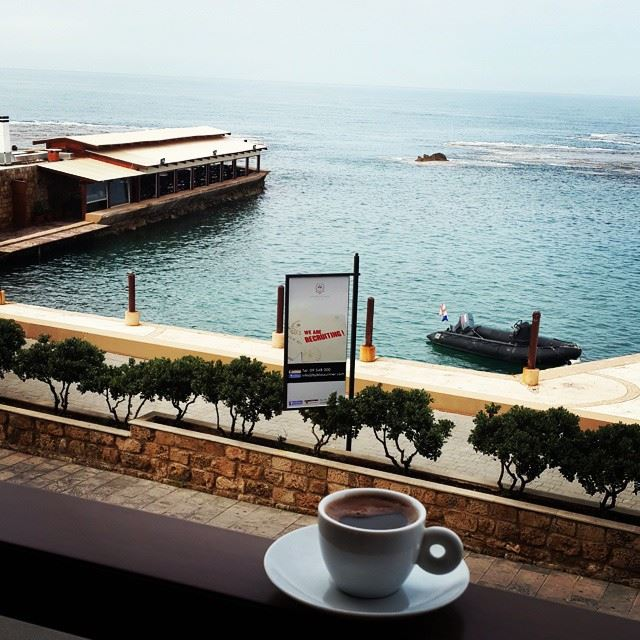 How about having your Lebanesecoffee while enjoying breathtaking view... (Byblos sur Mer Hotel)
