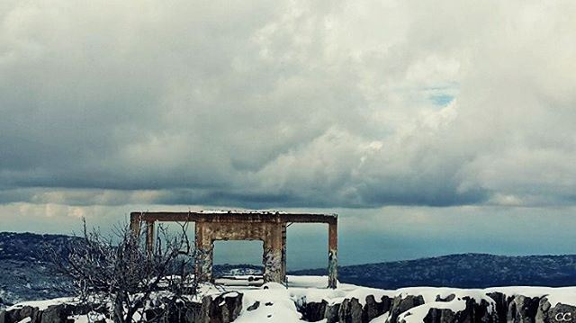winter season snow clouds sky mountains lebanon zaarour ...