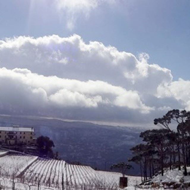 winter snow lebanon lebanese view sky sun colors blue white ...