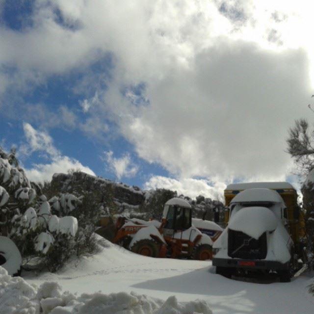 winter Lebanon January mountain snow nature white sky clouds ...