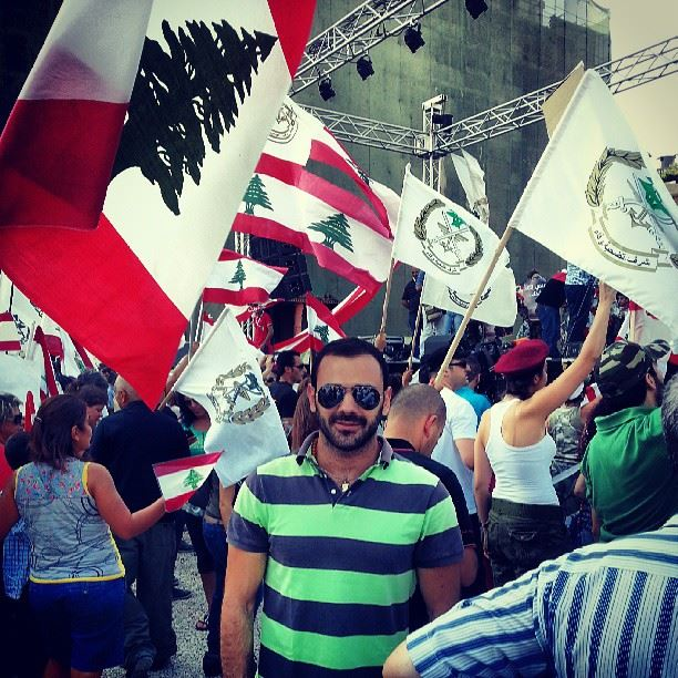 supporting the Lebanese army Beirut Lebanon flags cedar ...