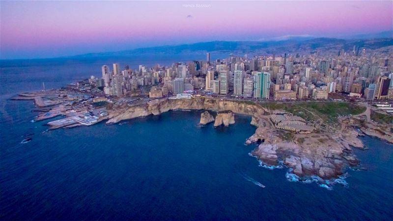 A calm-pre-night flight, aerial frame from Rawshe, Lebanon livelovebeirut... (Rawshe, Beirut)