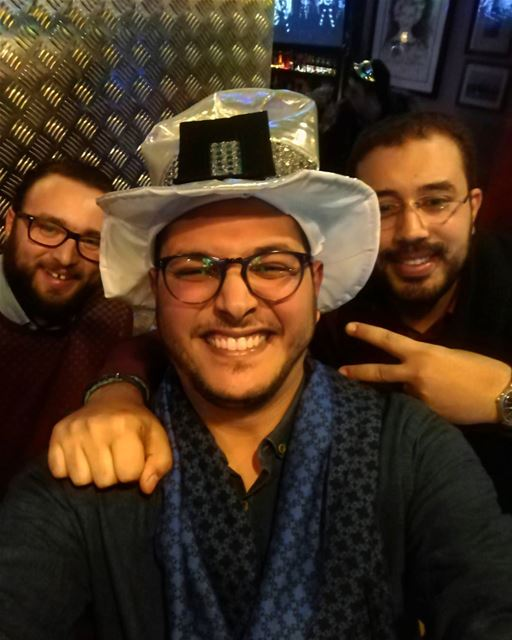 Happynewyear 2k17 Selfie Hat madness Happy Cool Fun Friends ... (Hamra street , Beirut - شارع الحمرا ، بيروت)