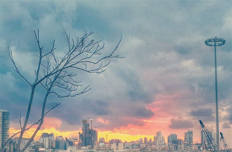 sunset after a rainyday in lebanon beirut urban city , with a ...