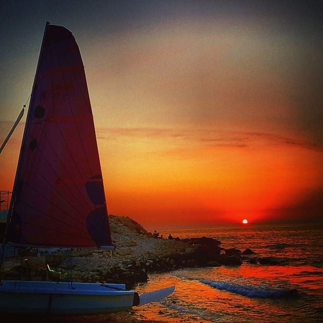 lebanon batroun beautiful view sunset red colored sky beach sea...