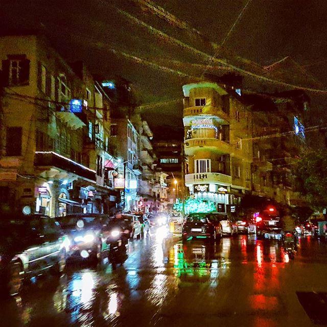 Drenched rain marmikhael lebanese winter urban landscape citylights... (Beirut, Lebanon)