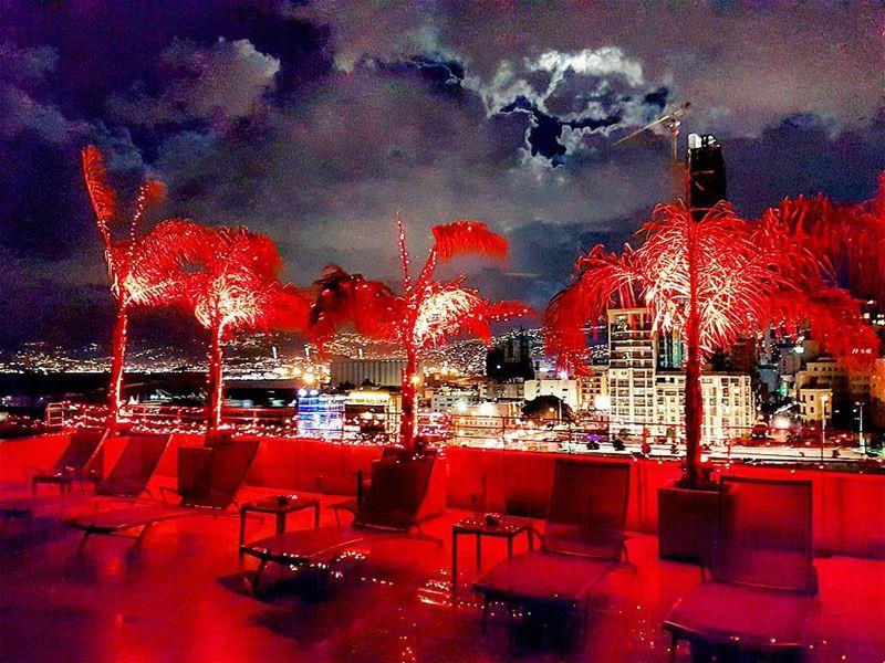 Inferno rooftop christmas lights citylights nightlife citylife ... (Beirut, Lebanon)