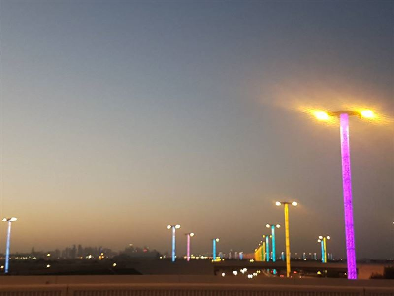 Amazing lights with a beautiful sunset... amazing lights beautiful ... (Hamad International Airport)