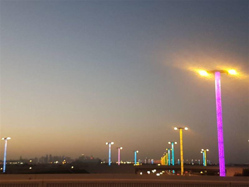 Amazing lights with a beautiful sunset... amazing lights beautiful ... (Hamad International Airport)