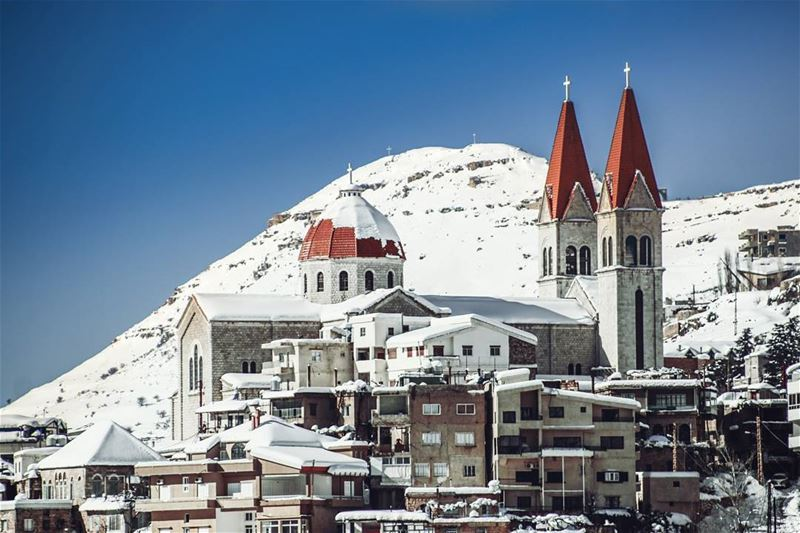 Morning Lebanon Bcharre Snow Winter Mountain White Nature Sky ...
