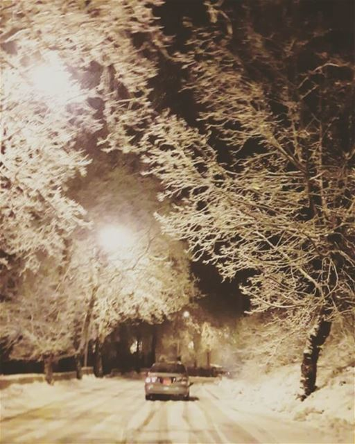 sawfar lebanon night snow winter ...