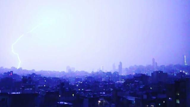 Beirut Lebanon BourjHammoud winter night Rain sky city clouds ...