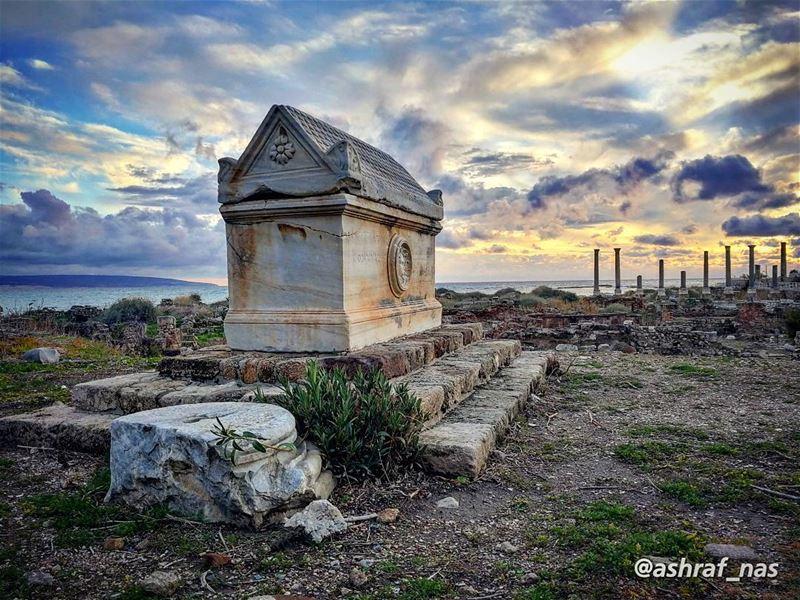هنا تحت كل ترابَه حكايةُ مجْدْهنا اللهُ شرّع بابَه وضَمَّكِ ضَمَّة وَجْدْ... (Roman ruins in Tyre)