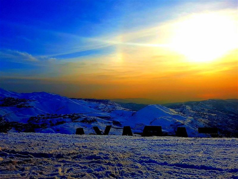faraya sunset winterseason chabrouh snow storm sun view colors ... (Faraya, Mont-Liban, Lebanon)