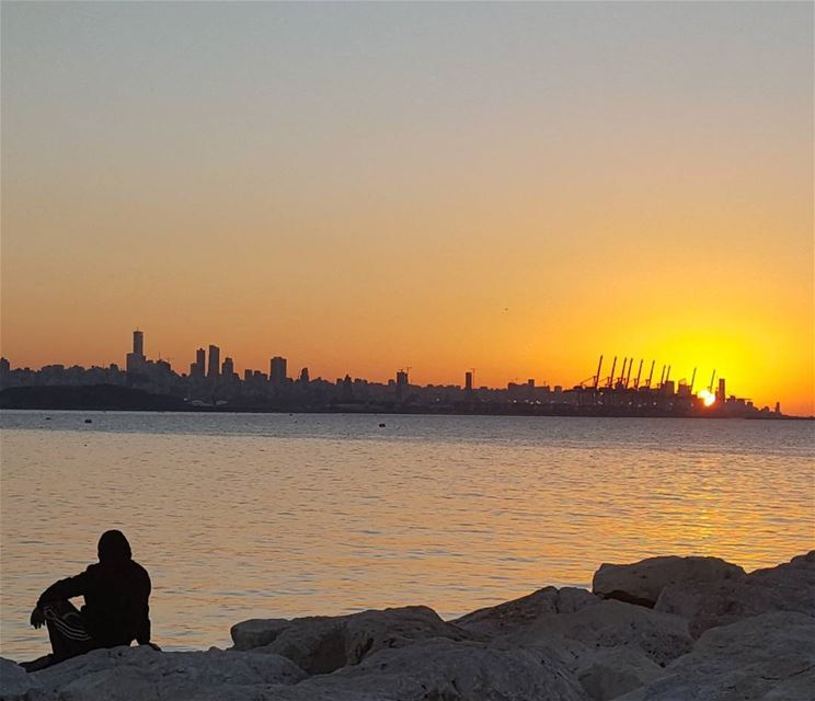 sunset sea sky serenity peaceofmind silhouette beirut ...