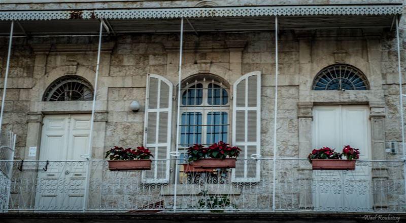 traditional old lebanese house balcony doors window stone home ... (Jounieh - Lebanon)