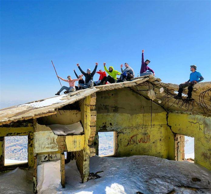 Up & Up. hike sun fun ruins roof war destruction hikers sports ...