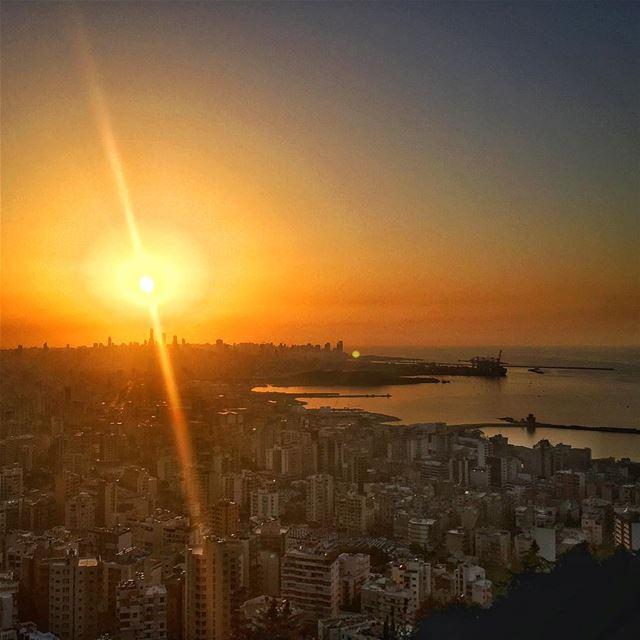 sunset coast sea water buildings orange sky horizon architecture ... (Beirut, Lebanon)