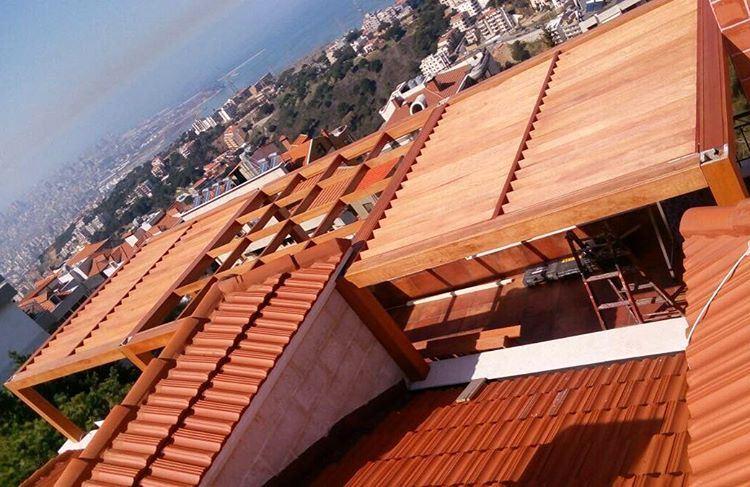 Residential Wood Roofing.Designed by PergolaKitsLebanon. Pergola ... (Bsalim, Mont-Liban, Lebanon)