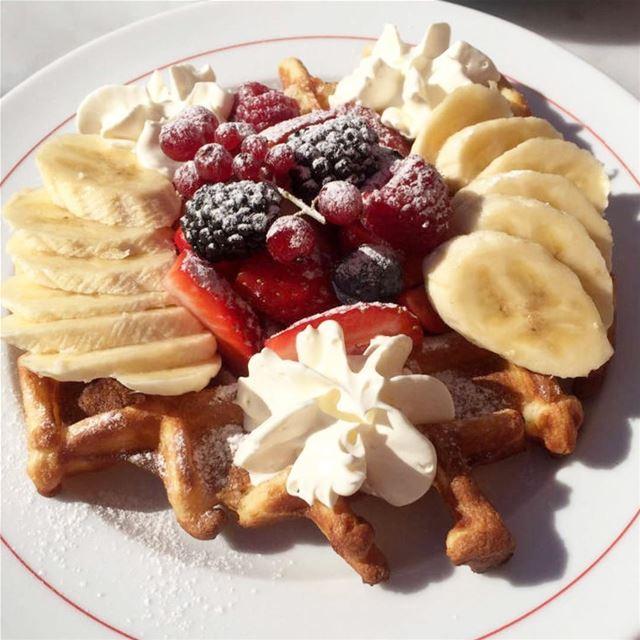 dessert waffles banana strawberry🍓 berries yummy lebanon ...