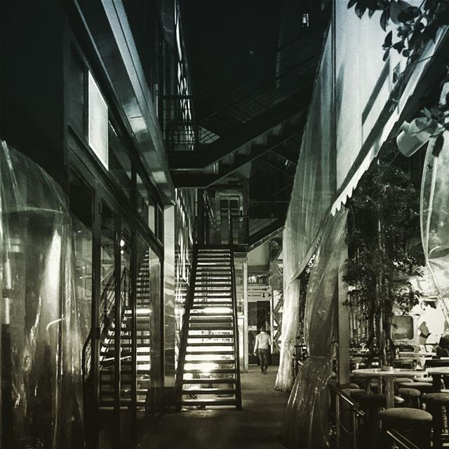 Staircase BW Circulation Beirut Lebanon NightLife ... (Hamra - حمراء)