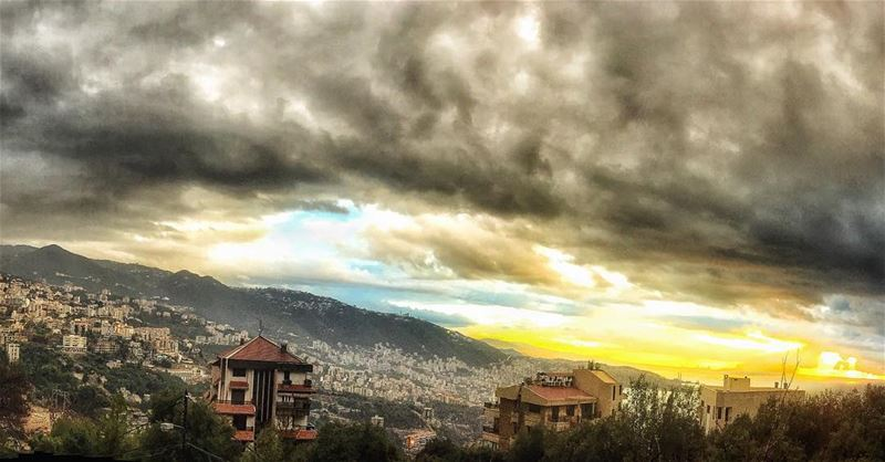 All the colors of the earth, sky, sea, and sun 🌞🌪🍁 skyporn cloudporn ... (Adma, Mont-Liban, Lebanon)