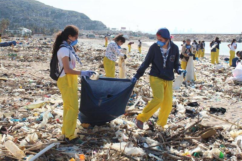 cleanseas single use plastic free clean up of Nahr el Kalb shoreline with... (Residence de La Mer)